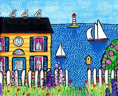 ORIGINAL Nova Scotia seaside cottage with seagulls and fence and flowers...looks like a Maud Lewis painting