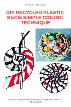 Diy Recycled Plastic Bags: Simple Coiling Technique - My Favorites Bag For Women Plastic Container Crafts, Reuse Plastic Bags, Plastic Bag Crafts, Fused Plastic, Plastic Spoons, Plastic Bottles, Recycling Projects For School, Recycled Art Projects, Soda Can Art