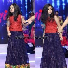 Girl in Blue Stripes Lehenga - Indian Dresses