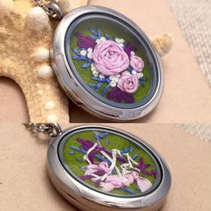 One of my favorite things about my glass locket necklaces is how you can see the stitching on the back.  It's beautiful in an abstract way and highlights the fact that this wasn't made in a factory...each one of those stitches was made by hand! (Why isn't there an embroidery hoop emoji yet?!) The necklace above is a personal favorite and is for sale in my shop; link in profile.