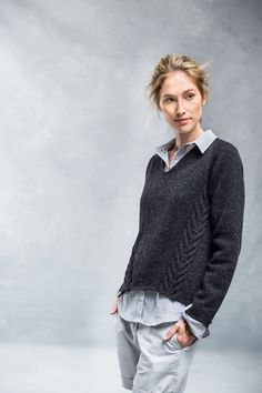 """Wake cabled v-neck pullover by Véronik Avery. From Brooklyn Tweed's """"Fall14"""" Collection. Photographed by Jared Flood."""