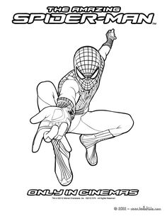 The amazing Spiderman ready to shoot his webs coloring