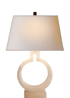 Visual Comfort CHA8969ALB-NP E. F. Chapman Ring Form Small Table Lamp in Alabaster with Natural Paper Shade