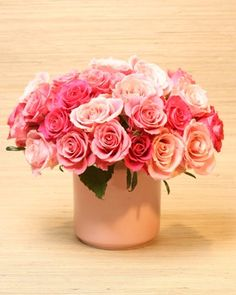 When preparing roses for arranging, cut stems at a 45-degree angle underwater and remove the guard petals if they're blemished. To get the roses to open more quickly, fill the vase with warm water. To minimize bacterial growth, remove the foliage below the waterline. Don't forget to add some cut-flower food or a teaspoon of sugar.To arrange a dozen roses, try placing four each into a dessert cup. For two dozen, a vase is just the trick. For three dozen, make small bundles of three or four...
