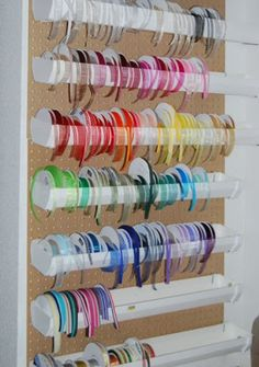 Rain gutter ribbon storage