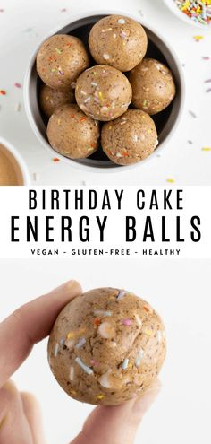 No bake birthday cake energy balls are vegan, gluten-free & healthy! Combine oat flour, cashew butter, white chocolate, and sprinkles to make this dessert. Best Vegan Snacks, Healthy Vegan Desserts, Healthy Dessert Recipes, Delicious Desserts, Healthy Snacks, Snack Recipes, Cooking Recipes, Oreo Desserts, Kitchen Recipes