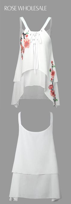 $11.34,Flower Chiffon Tank Top - White 2xl | Rosewholesale,rosewholesale.com,rosewholesale clothes,rosewholesale clothing,rosewholesale tops,rosewholesale for women,floral tops,cami tops,lace tops,white tops,chiffon,valentines day outfit,valentines day idea,rosewholesale valentines day,rosewholesale easter | #rosewholesale #tops #floral