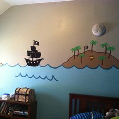 Sea Murals, Wall Murals, Pirate Ships, Pirate Party, Treasure Chest, Hobby Lobby, Cut Outs, Palm Trees, Pirates