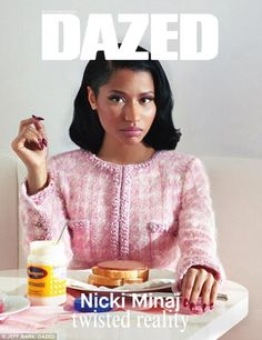 Picture perfect: One cover shot shows the rapper sitting at a kitchen table emulating a de...