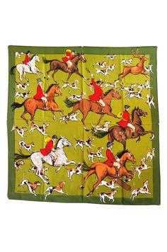 That's a field of beagles! Hermés 1959 La Poursuite by Jean-Louis Clerc silk scarf.