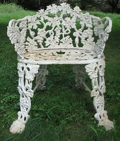 Antique Vintage Cast Iron Lawn, Garden, Or Patio Ornate Grape Pattern Chair  Settee Or