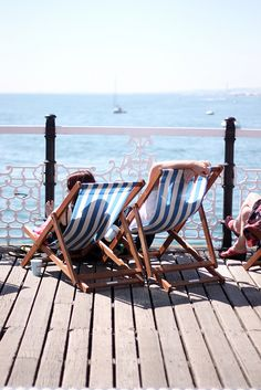Deckchair Blue and White stripes- Brighton pier. Punch And Judy, British Seaside, Double Decker Bus, Seaside Wedding, Brighton And Hove, Local Attractions, Amazing Spaces, West Midlands, Sunderland