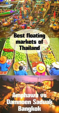 Best floating markets of Bangkok, Thailand; Amphawa vs Damnoen Saduak. Comparison, itinerary, best time to visit, sea food, local sweets, activities, accommodation, tips.