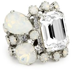 "Rodrigo Otazu ""BDL"" Cluster of Milky White Opal Crystal Adjustable Ring Rodrigo"