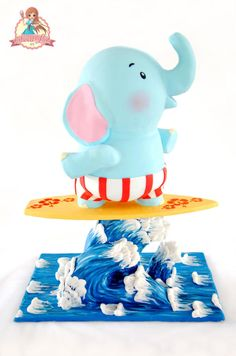 Zo The Elephant On The Surfing Board - Cake by SweetLin