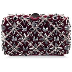 Rodo - Burgundy red velvet Swarovski crystal & chain embellished... (€1.020) ❤ liked on Polyvore featuring bags, handbags, clutches, purple handbags, embellished purses, swarovski crystal handbags, burgundy clutches and burgundy handbag