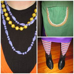 Eclectic - vintage plastic beads, thrifted black top and orange cardigan.  Vintage green gingham apron with ric rac (made by my mother-in-law) vintage purple skirt - was a maxi evening dress and I cut it down.  Plastic bow boots, retail.