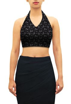 Black lace halter neck blouse. Design you own now on houseofblouse.com #saree #blouse #sareeblouse #blousedesigns #desi #spagettiblouse #lace #black