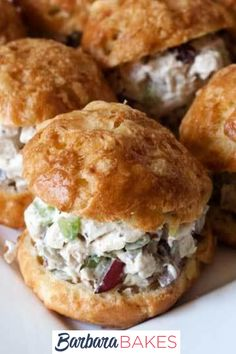 If you're looking for an easy chicken salad recipe that's lower on calories than traditional chicken salad but every bit as flavorful, look no further! #BarbaraBakes #bestchickensaladsandwiches #lightchickensaladsandwiches
