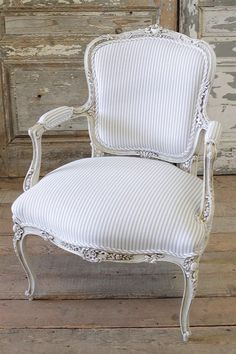 French Arm Chair in Ticking by FullBloomCottage on Etsy