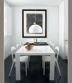 White decor with small black details.