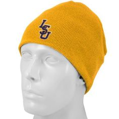 info for a87f2 5761e NCAA Top of the World LSU Tigers Gold Easy Does It Knit Beanie Cap Top of  the World.  9.95