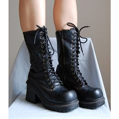 The 1990s goth faux leather lace up chunky heels platform boots size... ($79) ❤ liked on Polyvore