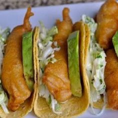 everybody-loves-to-eat: Fish Tacos Fish Recipes, Seafood Recipes, Mexican Food Recipes, Cooking Recipes, Healthy Recipes, Cooking Food, Authentic Mexican Recipes, Fried Fish Tacos, Food Porn