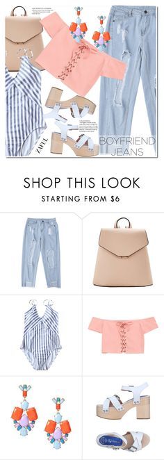 """Borrowed from the Boys: Boyfriend Jeans"" by duma-duma ❤ liked on Polyvore featuring MANGO, Jeffrey Campbell and boyfriendjeans"