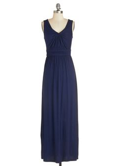 Brunch at Home Dress in Navy - Blue, Solid, Ruching, Casual, Maxi, Sleeveless, Knit, Long