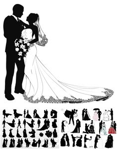Wedding couple silhouettes in different poses for invitation cards and postcard. In archive 3 files and more than 42+ beautiful silhouettes newlyweds. Free download.