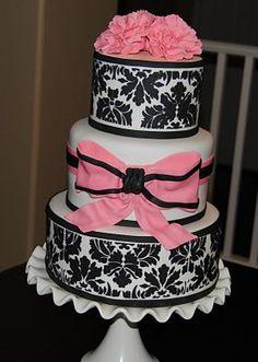 Baby shower dream cake! Black & Hot Pink Damask for girl, Teal/aqua for a boy!