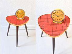 Vintage tripod red coffee table flower table by MightyVintage