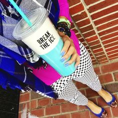 kate spade new york 'break the ice' tumbler via tjmaxx + blue plaid blanket scarf via eBay fashion + old navy magenta dress worn as blouse + new york and co white polka dot pants + clarks usa cobalt flats + tory burch mint wrap bracelet {saturday style}