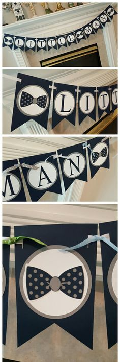 Navy, white, and gray, Bowie Little Man baby shower banner.