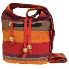 Nepal Sling Bags Shoulder Strap Boho Chic Hippy Everyday Bag - Sunset Reds