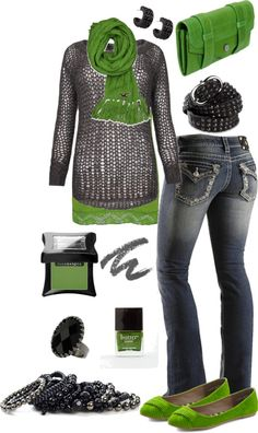 """Green Grey and Black"" by crzrdnk77 ❤ liked on Polyvore"