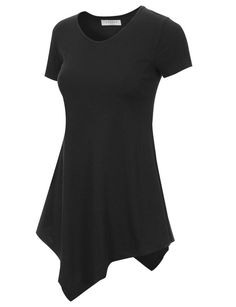 Made By Johnny Women's Short Sleeve Handkerchief Hem Tunic