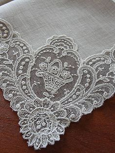 Exceptional Antique Schiffli Embroidery Lace Bridal Handkerchief | eBay Vintageblessings   Bridal handkerchiefs make wonderful gifts for the bride to be to love and then hand down to the next generation. Give as a gift for a new baby, to remember you when they walk down the aisle.  A wonderful tradition to start if your family doesn't have one!