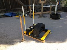 DIY Prowler Sled with a detachable sledgehammer target and Powerblocks to add weight for the sled and to provide dumbell exercises. Outdoor Gym, Outdoor Workouts, Gym Workouts, At Home Workouts, Diy Gym Equipment, Workout Equipment, Training Equipment, Garage Gym, Sledgehammer Workout