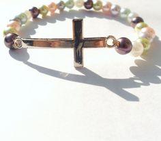 Baptism Gift / Sideways Cross Bracelet / First by DevineEssence, $8.00