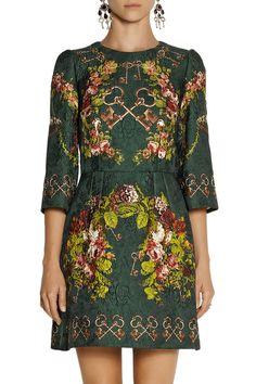 Dolce & Gabbana | Printed matelassé mini dress | NET-A-PORTER.COM
