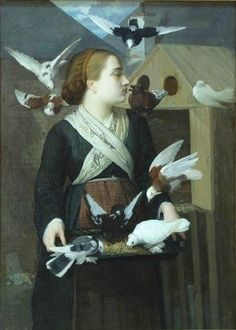 Hentia, Sava, Girl with Pigeons, Oil Pigeon, Painting & Drawing, Roman, Drawings, Nature, Animals, Coups, Art, Madness