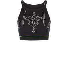 Black Aztec Print Crop Top  | New Look Crop Top Noir, Teen Guy Fashion, New Look, Aztec, Fashion Online, Hemline, Shoulder Straps