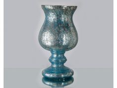 Blue Antique Crackled Glass Hurricane