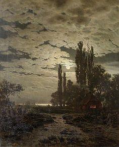LOUIS DOUZETTE (German, 1834-1924) A Moonlit landscape