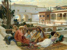 L'Algerie des peintres (orientalisme) Partie d'échec dans le palais du dey d'Alger(peinture :Frederick arthur bridgman: 1847-1928)
