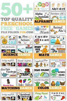 50+ Top Quality Free Preschool File Folder Games