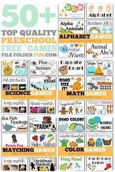 50+ Top Quality Free Preschool File Folder Games