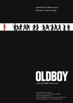 Poster for Park Chan-Wook's modern classic, Oldboy. Minimal Movie Posters, Cinema Posters, Cool Posters, Film Posters, Concert Posters, Retro Poster, Movie Poster Art, Original Movie Posters, Love Movie